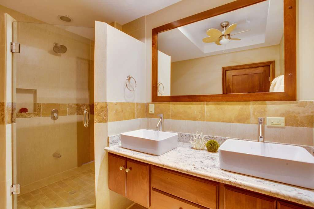 The master bathroom in the Placencia vacation rental