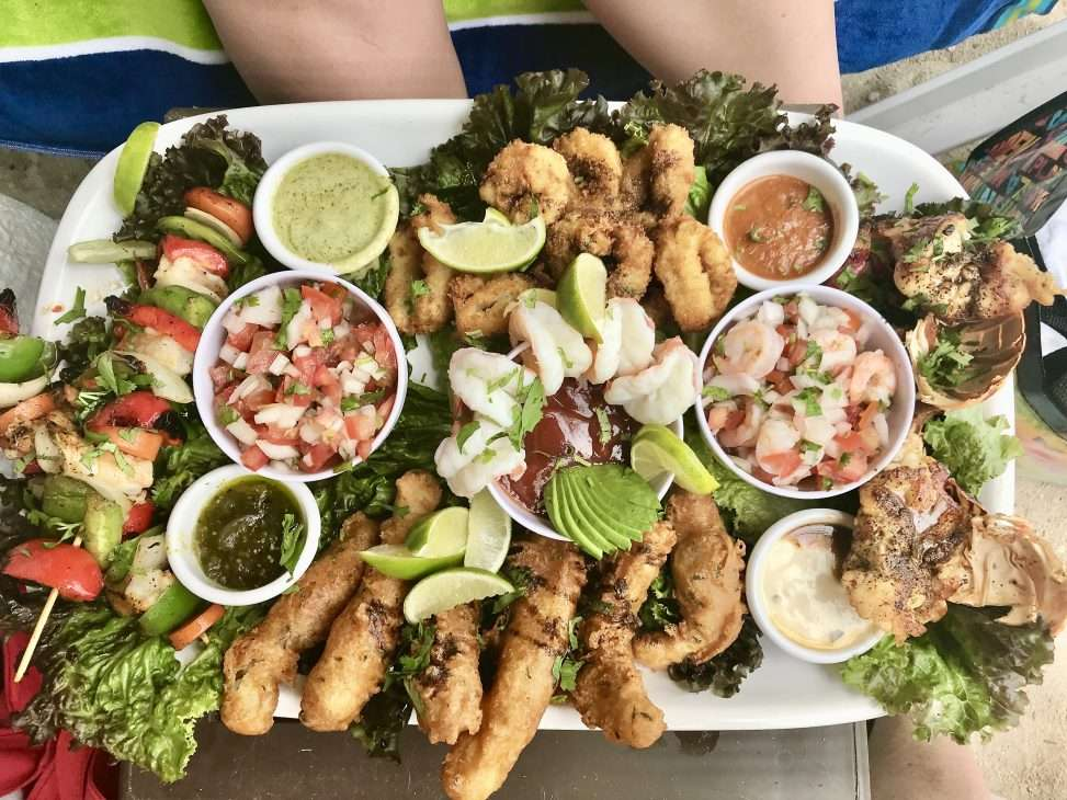 Seafood platter at Buccanos Beach Club in Cozumel