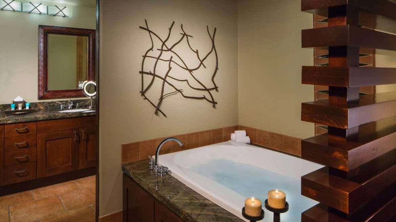 Master bathroom with tub at Hyatt Residence Club Pinon Point vacation rental in Sedona