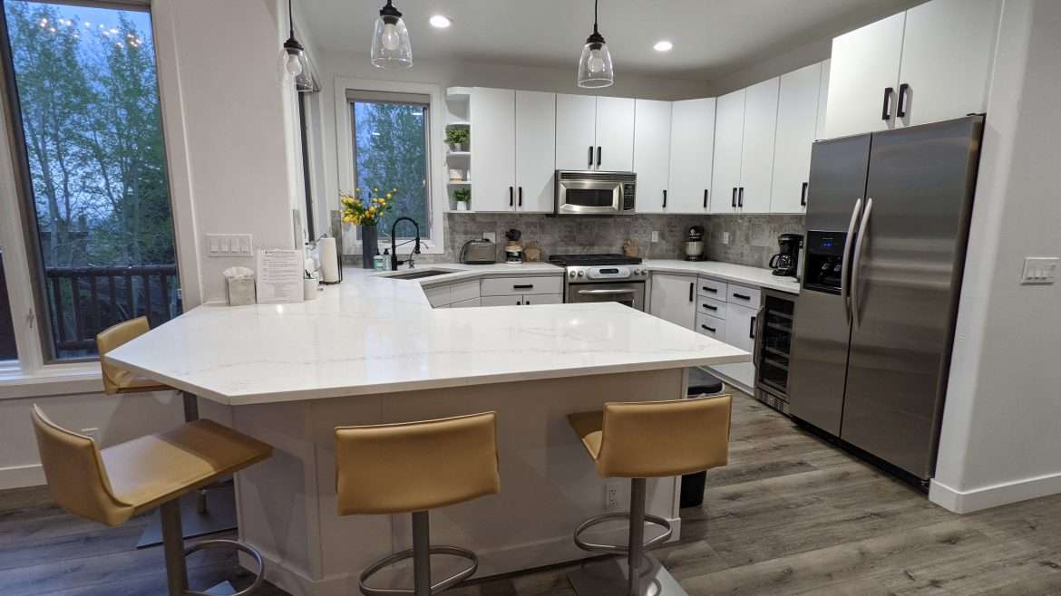 Open kitchen with barstools