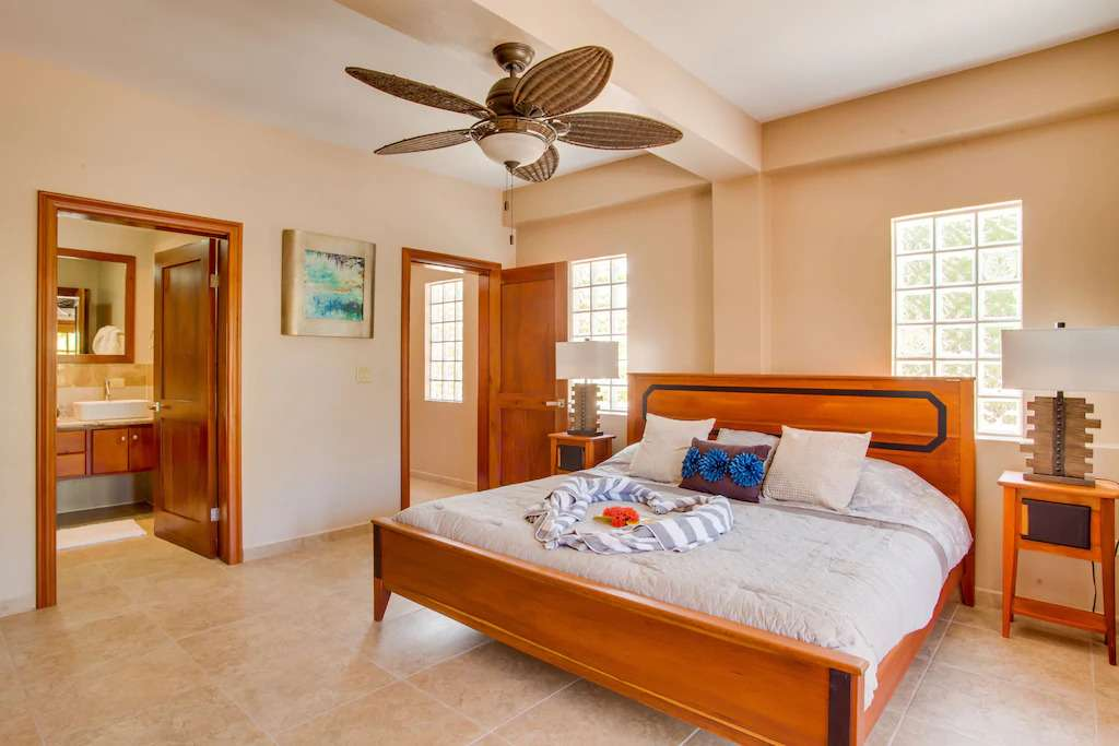 Master bedroom in Placencia vacation rental