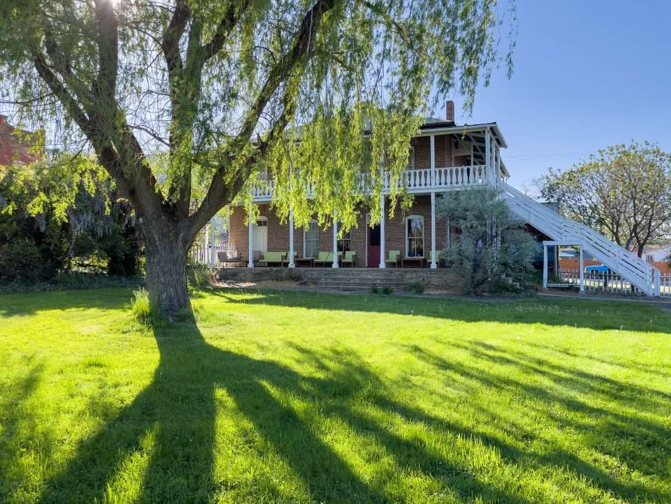 Backyard of Historic Collier Hotel vacation rental in Edna, CA