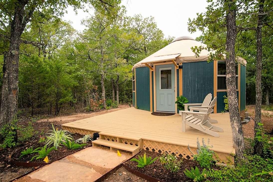 outside of yurt in Bastrop, Texas