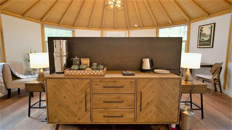 interior of yurt in Bastrop, Texas