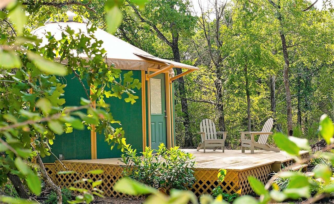 outside of yurt rental in Bastrop, Texas outside Austin